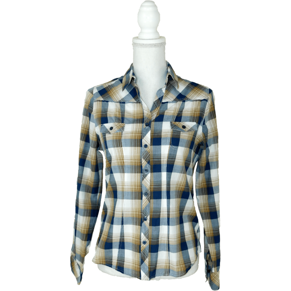 Sötétkék-barna-beige színű, karcsúsított fazonú, kockás ing