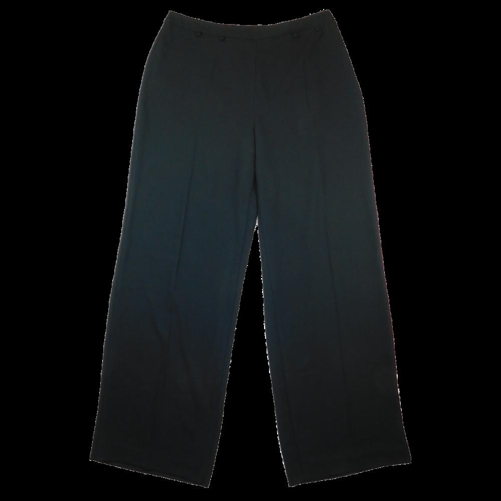 Fekete, egyenes szárú nadrág, oldalt rejtett cipzárral záródik