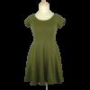 Kép 1/2 - Khaki színű, kerek nyakkivágású, A-vonalú, rugalmas anyagú ruha, hátán keresztpántokkal.