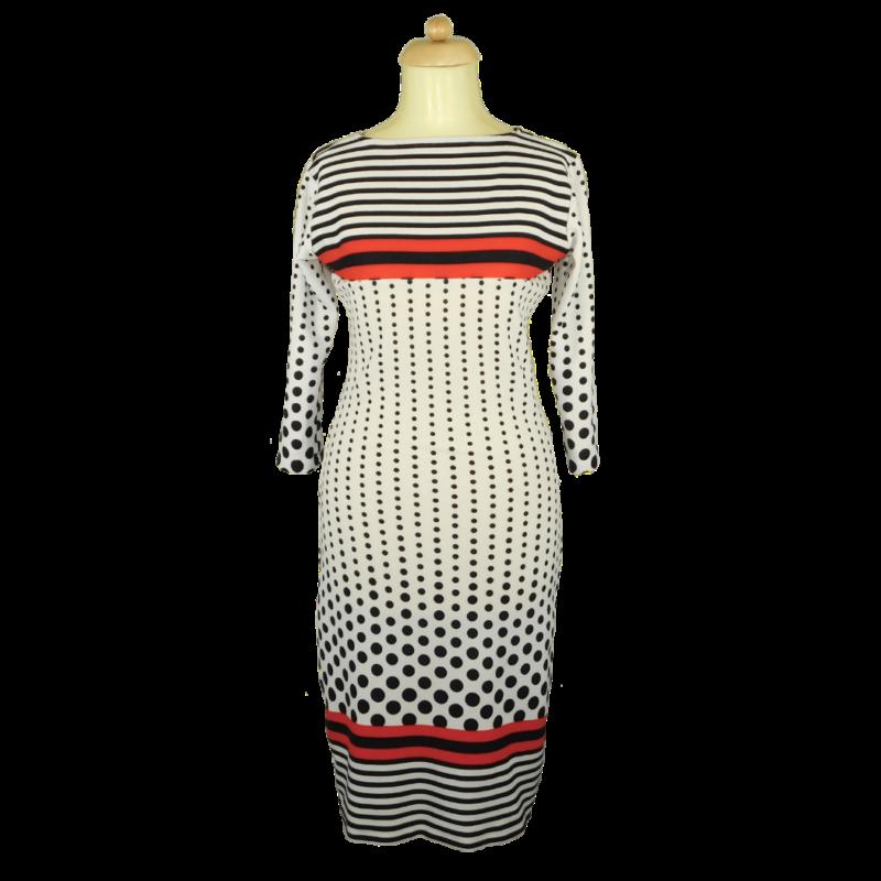 Fehér finomkötött ruha, piros csíkokkal, fekete pöttyökkel, csíkokkal