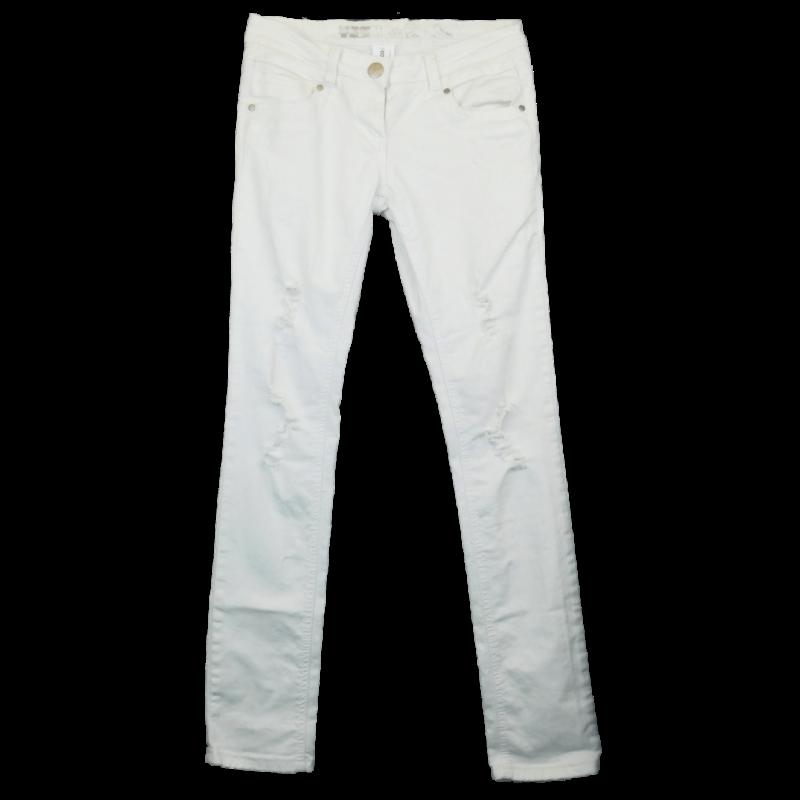 Fehér, szaggatott, skinny farmernadrág, hátulján rávarrt zsebekkel. Enyhén rugalmas anyagból (hosszú lábú hölgyeknek).